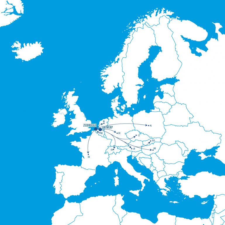 Antwerp Map Europe.International Car Operators International Car Operators